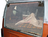 VW T2 (Bay-Window) Rear Hatch Screen with Brown Trim and Overlap Bottom