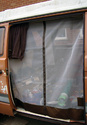 VW T25 (Vanagon) Sliding Door Screen(Centerline Zipper, Brown Leather Trim)