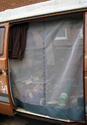 VW T25 (Vanagon) Sliding Door Screen (Centerline Zipper, Grey Leather Trim)