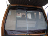 VW T25 (Vanagon) Rear Hatch Screen w/ Centerline Zipper, Brown Leather Trim