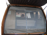 VW T25 (Vanagon) Rear Hatch Screen w/ Centerline Zipper, Grey Leather Trim